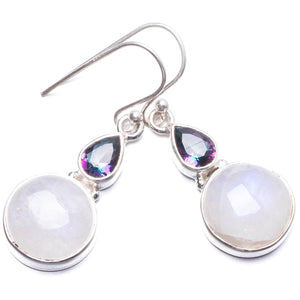 "Natural Moonstone and Mystical Topaz Handmade Unique 925 Sterling Silver Earrings 1.5"" Y2744"