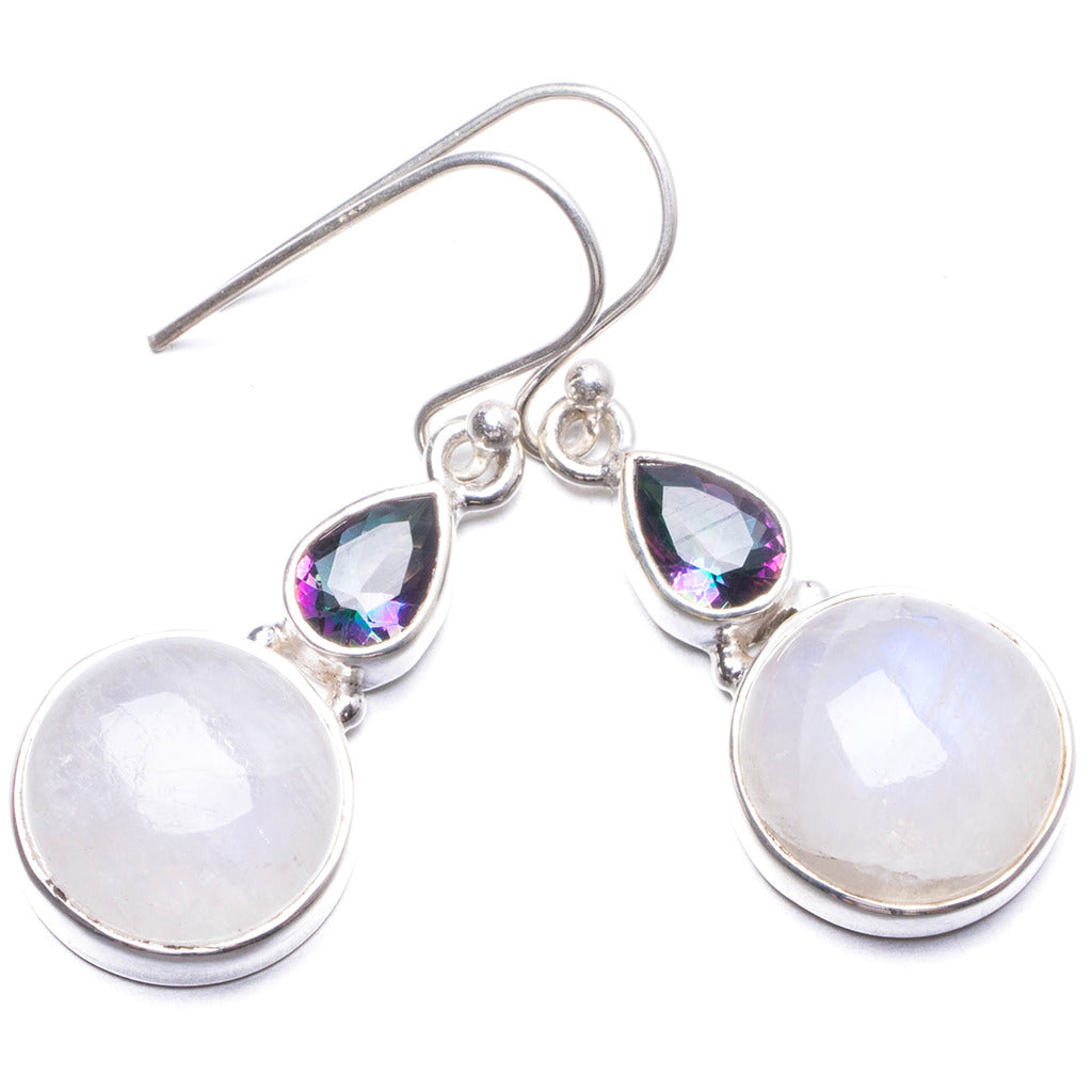 Natural Moonstone and Mystical Topaz Handmade Unique 925 Sterling Silver Earrings 1.5
