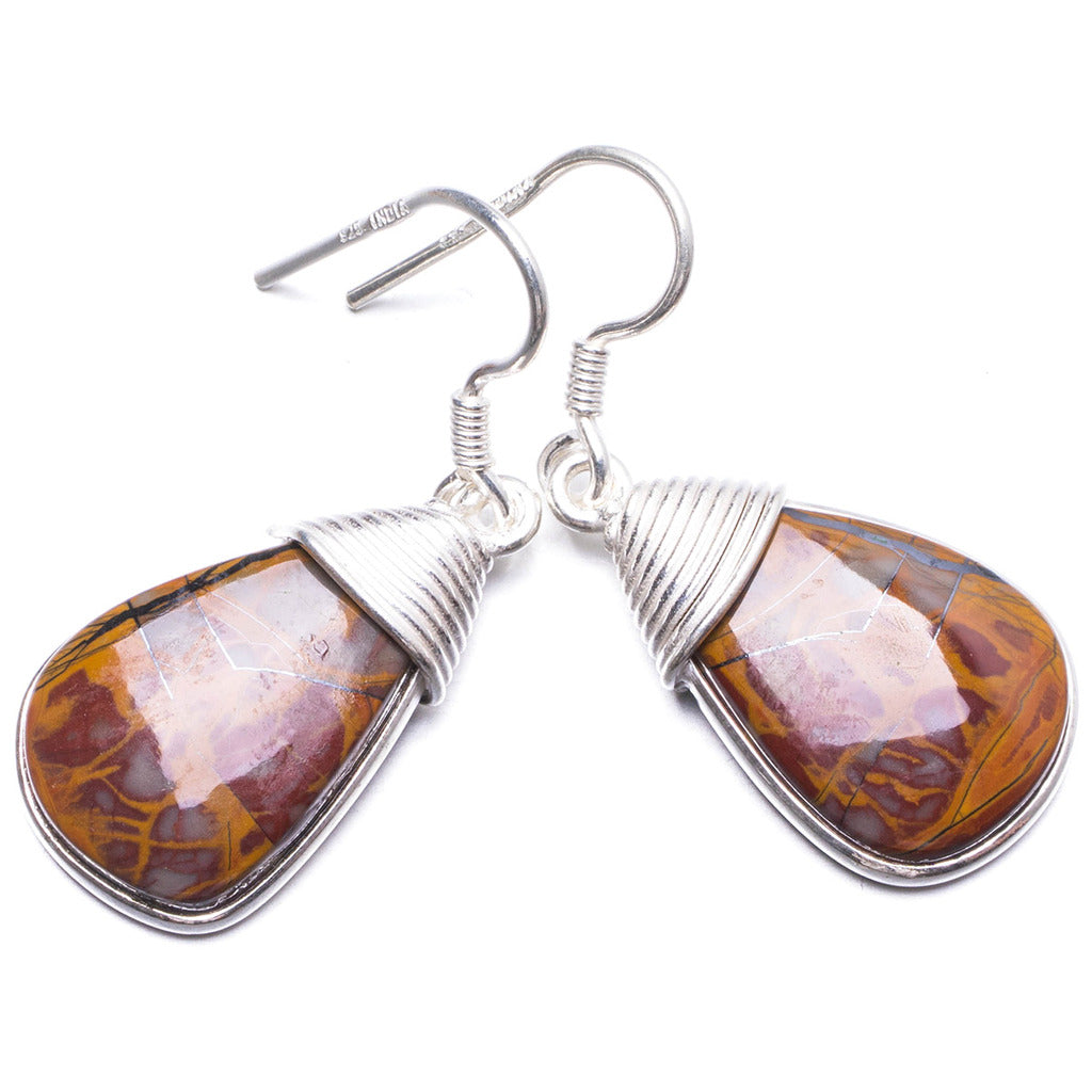 Natural Autumn Jasper Handmade Unique 925 Sterling Silver Earrings 1.5