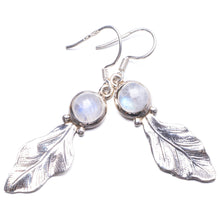 "Natural Rainbow Moonstone Handmade Unique 925 Sterling Silver Earrings 2"" Y2750"