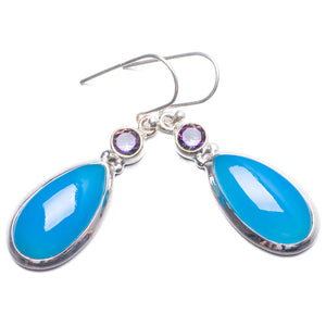"Natural Chalcedony and Mystical Topaz Handmade Unique 925 Sterling Silver Earrings 1.75"" Y2762"