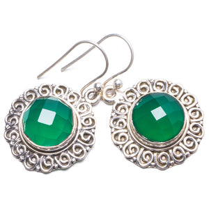 "Natural Chrysoprase Handmade Unique 925 Sterling Silver Earrings 1.5"" Y2786"