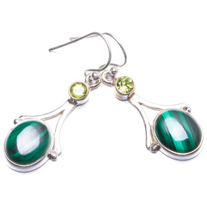 "Natural Malachite and Peridot Handmade Unique 925 Sterling Silver Earrings 1.5"" Y2788"