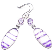 "Natural Fluorite and Amethyst Handmade Unique 925 Sterling Silver Earrings 2.25"" Y2799"
