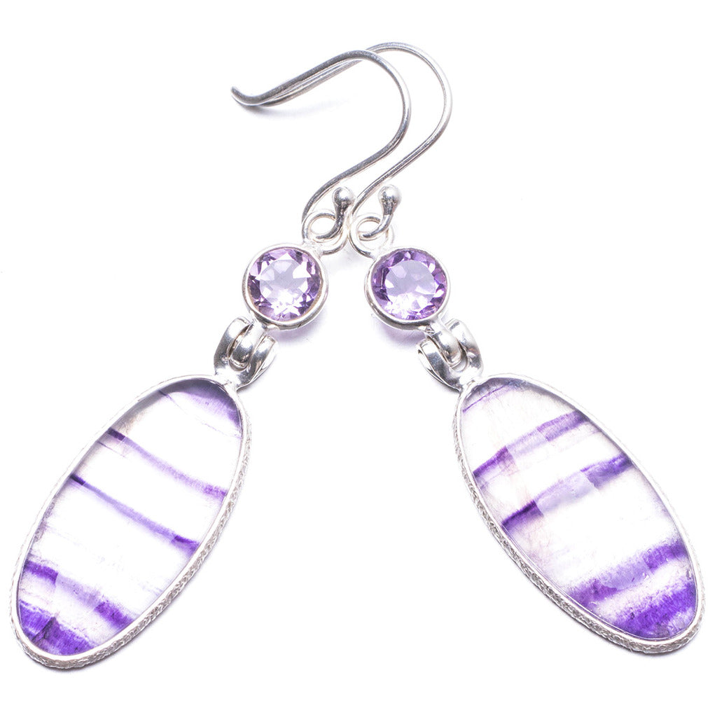 Natural Fluorite and Amethyst Handmade Unique 925 Sterling Silver Earrings 2.25