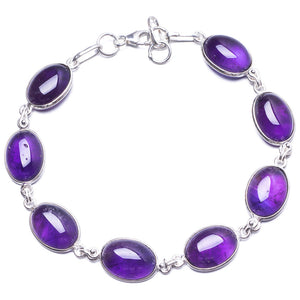 "Natural Amethyst Handmade Unique 925 Sterling Silver Bracelet 8 1/4-8 3/4"" Y2805"