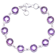 "Natural Amethyst Handmade Unique 925 Sterling Silver Bracelet 7 1/2-8"" Y2809"