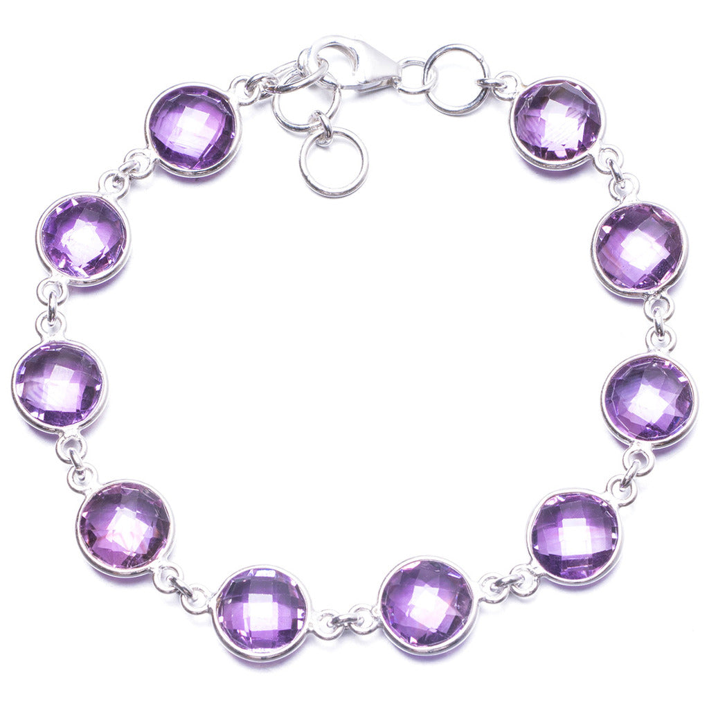 Natural Amethyst Handmade Unique 925 Sterling Silver Bracelet 7 1/2-8
