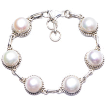 "Natural River Pearl Handmade Unique 925 Sterling Silver Bracelet 7 1/2-8 1/2"" Y2821"