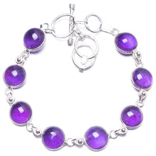 "Natural Amethyst Handmade Unique 925 Sterling Silver Bracelet 6 3/4-7 3/4"" Y2830"