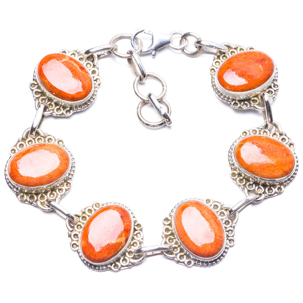 Natural Coral Handmade Unique 925 Sterling Silver Bracelet 7 1/4-8 1/4