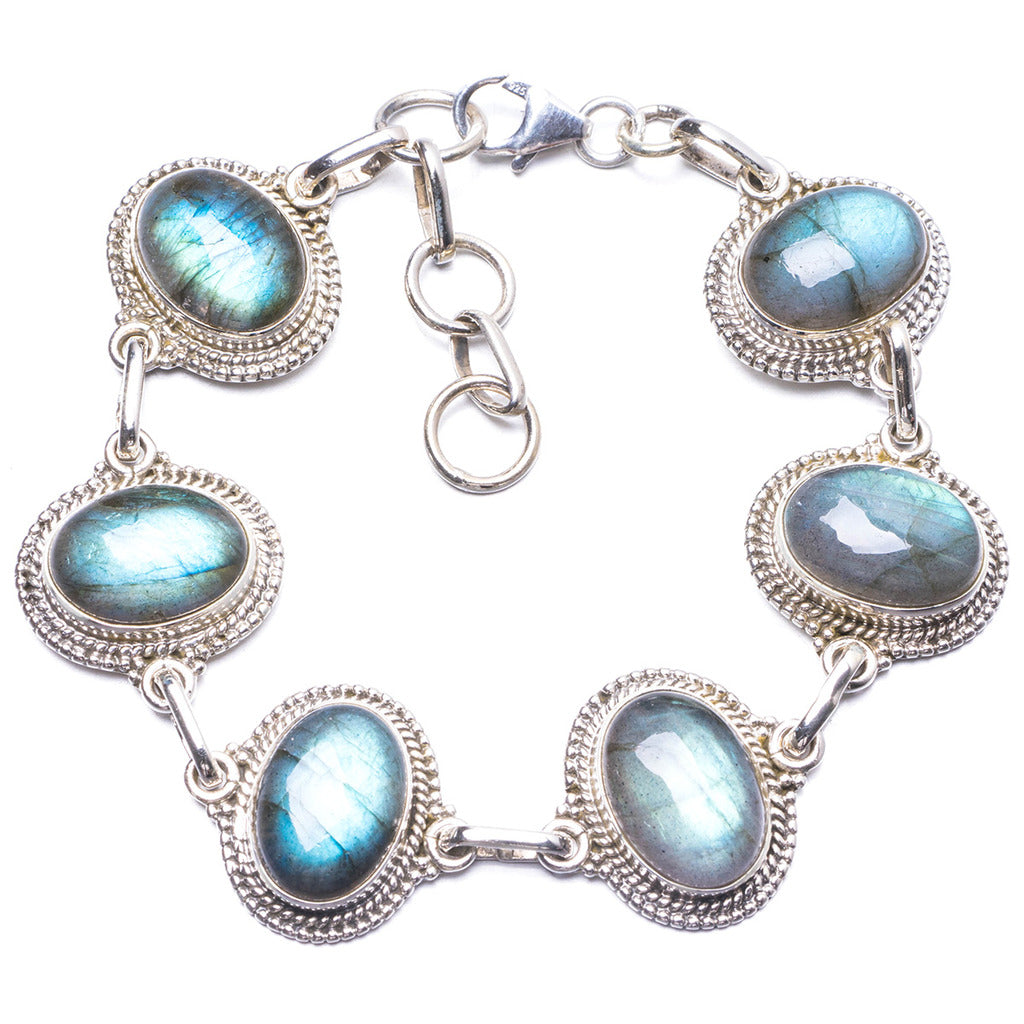 Natural Labradorite Handmade Unique 925 Sterling Silver Bracelet 7 1/4-8 1/4