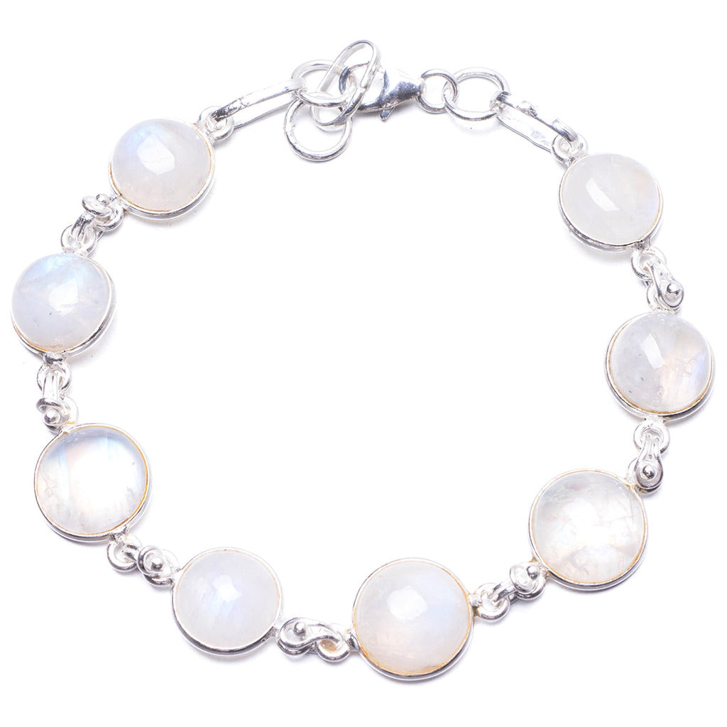 Natural Rainbow Moonstone Handmade Unique 925 Sterling Silver Bracelet 6 3/4-7 1/4