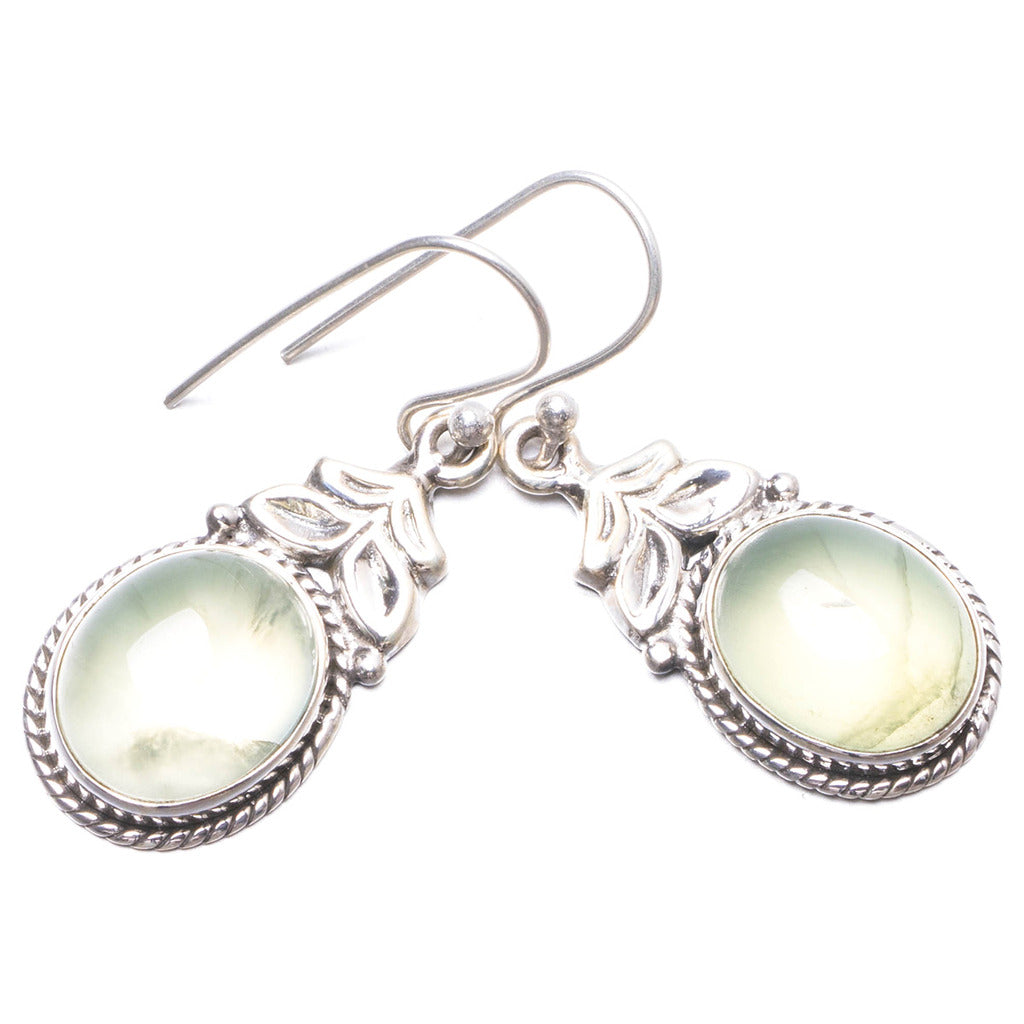 Natural Prehnite Handmade Unique 925 Sterling Silver Earrings 1.5