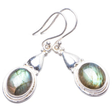"Natural Blue Fire Labradorite Handmade Unique 925 Sterling Silver Earrings 1.75"" Y2932"