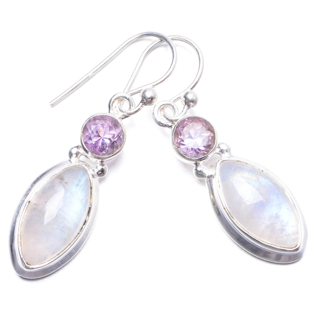 Natural Rainbow Moonstone and Amethyst Handmade Unique 925 Sterling Silver Earrings 1.25