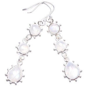 "Natural Rainbow Moonstone Handmade Unique 925 Sterling Silver Earrings 2.25"" Y2953"