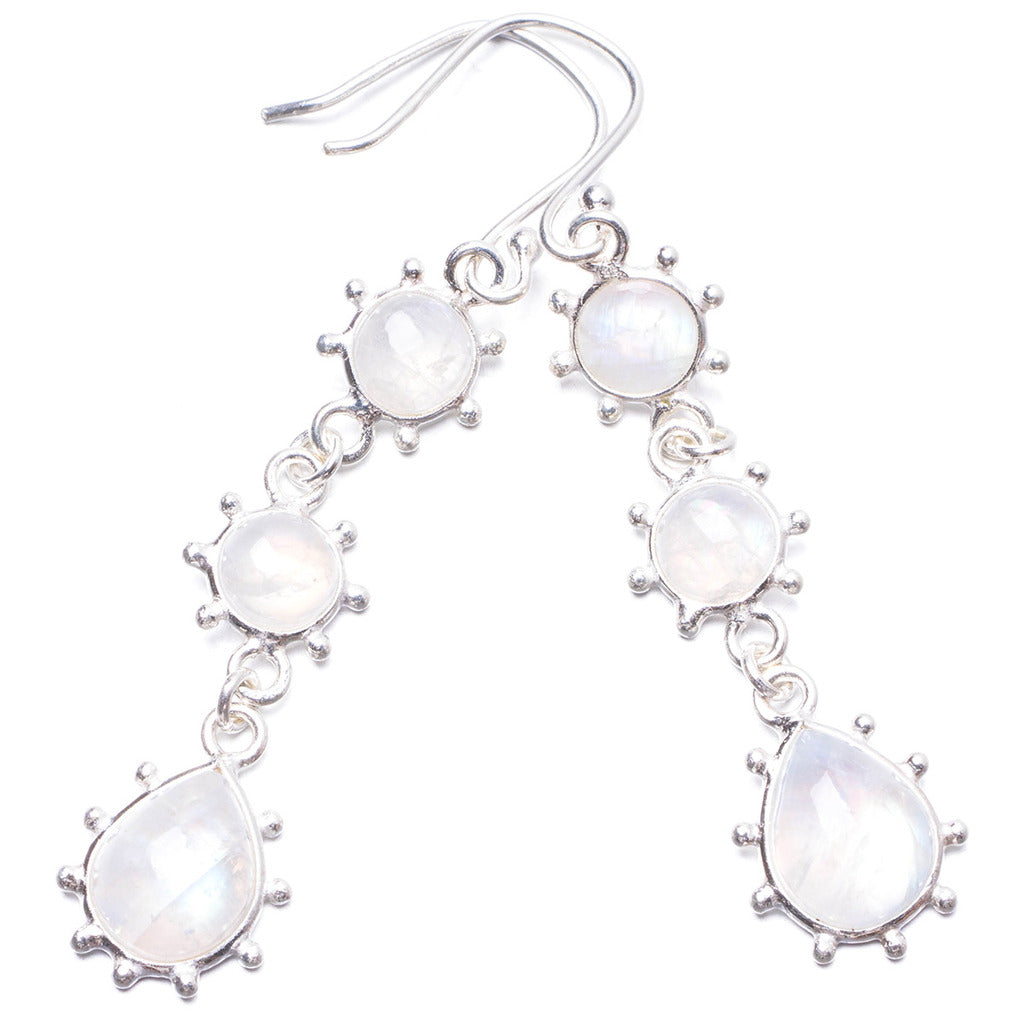 Natural Rainbow Moonstone Handmade Unique 925 Sterling Silver Earrings 2.25