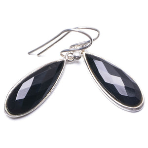 "Natural Black Onyx Handmade Unique 925 Sterling Silver Earrings 1.25"" Y2969"