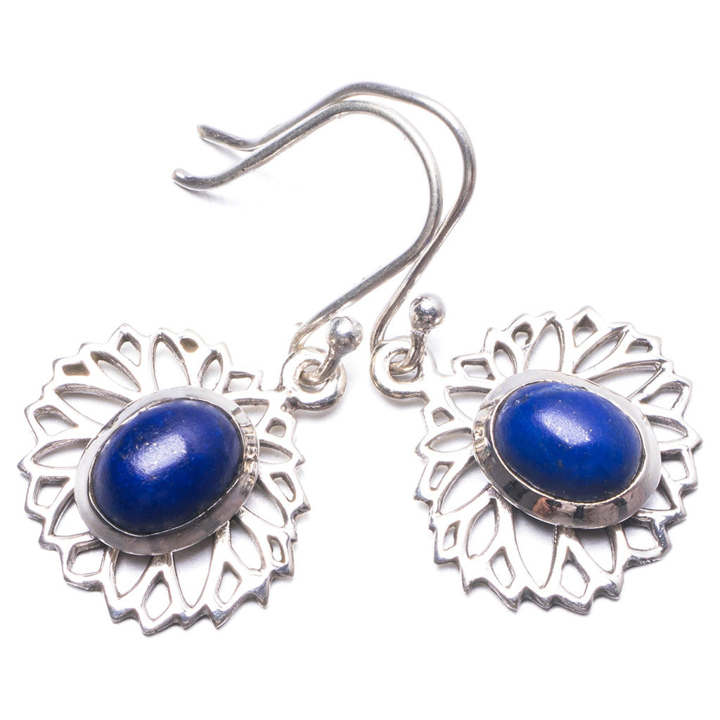 Natural Lapis Lazuli Handmade Unique 925 Sterling Silver Earrings 1.25