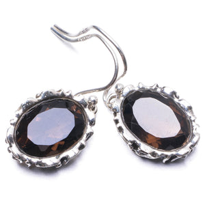 "Natural Smoky Quartz Handmade Unique 925 Sterling Silver Earrings 1.25"" Y3024"