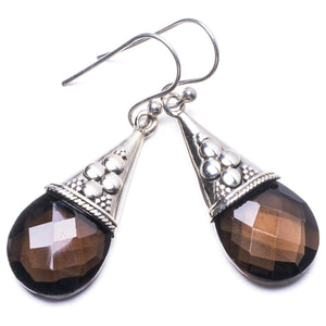 "Natural Smoky Quartz Handmade Unique 925 Sterling Silver Earrings 1.5"" Y3030"