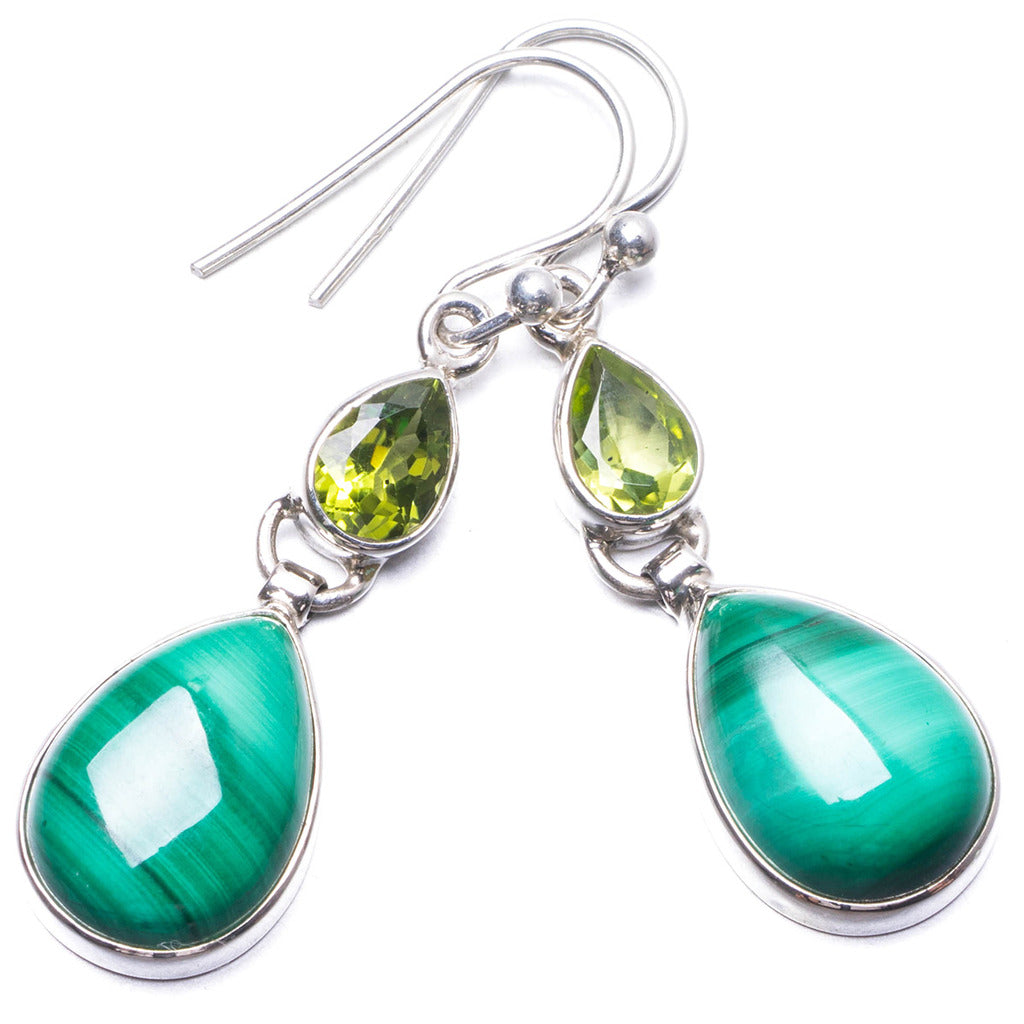 Natural Malachite and Peridot Handmade Unique 925 Sterling Silver Earrings 1.5