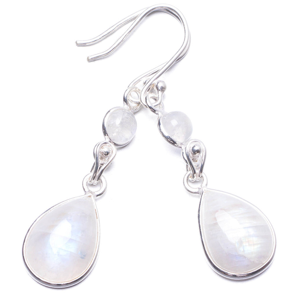 Natural Rainbow Moonstone Handmade Unique 925 Sterling Silver Earrings 1.75