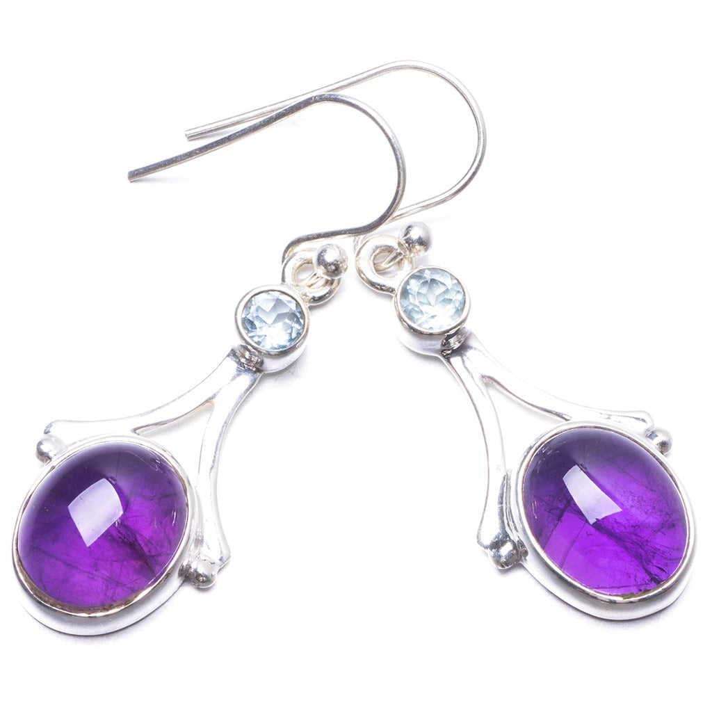 Natural Amethyst and Blue Topaz Handmade Unique 925 Sterling Silver Earrings 1.5