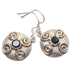 "Natural Two Tones Black Onyx Handmade Unique 925 Sterling Silver Earrings 1.25"" Y3060"