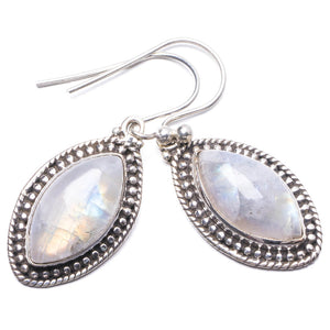 "Natural Rainbow Moonstone Handmade Unique 925 Sterling Silver Earrings 1.25"" Y3091"