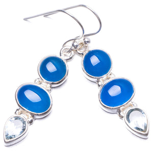 "Natural Chalcedony and Blue Topaz Handmade Unique 925 Sterling Silver Earrings 1.5"" Y3102"