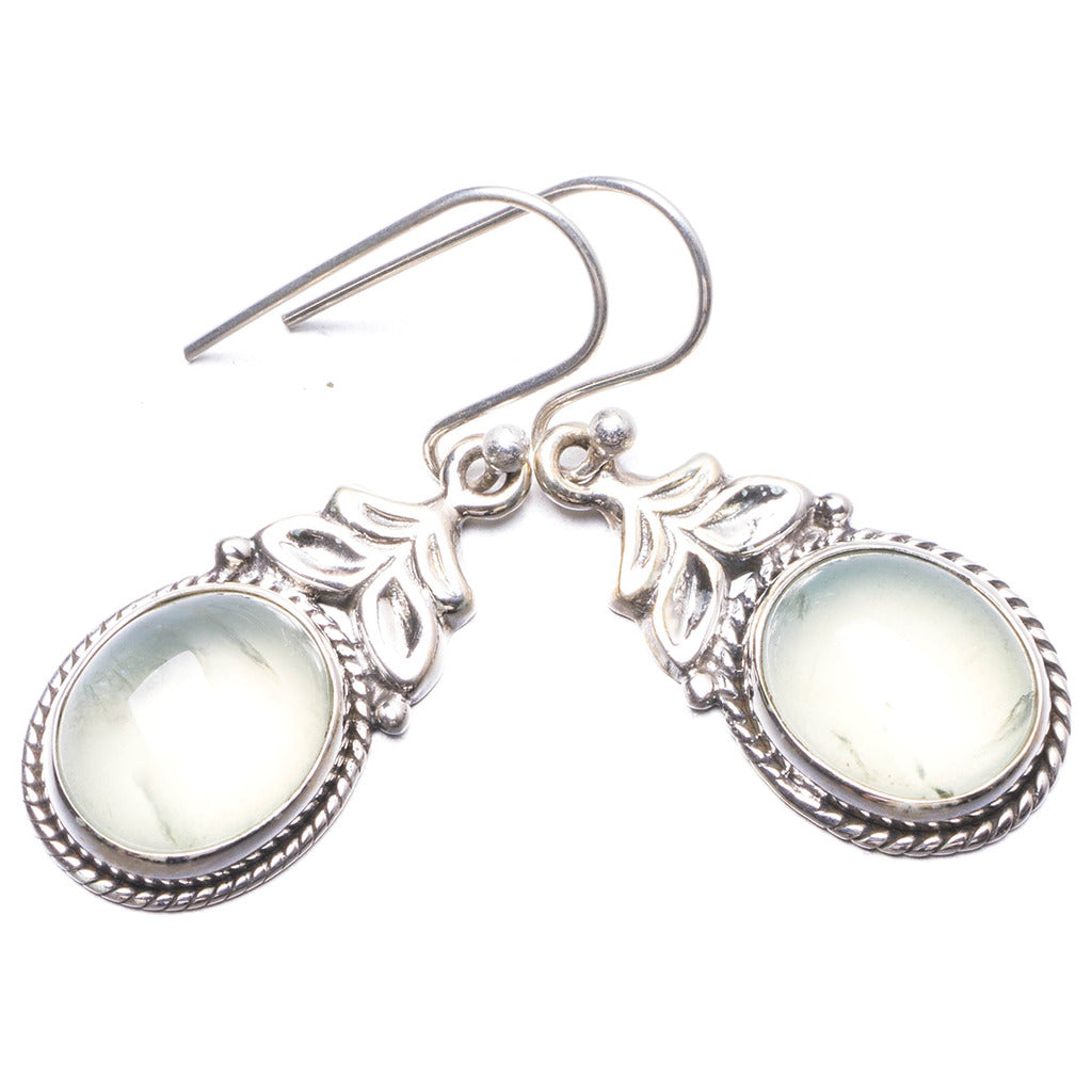 Natural Prehnite Handmade Unique 925 Sterling Silver Earrings 1.25