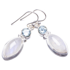 "Natural Rainbow Moonstone and Blue Topaz Handmade Unique 925 Sterling Silver Earrings 1.25"" Y3164"