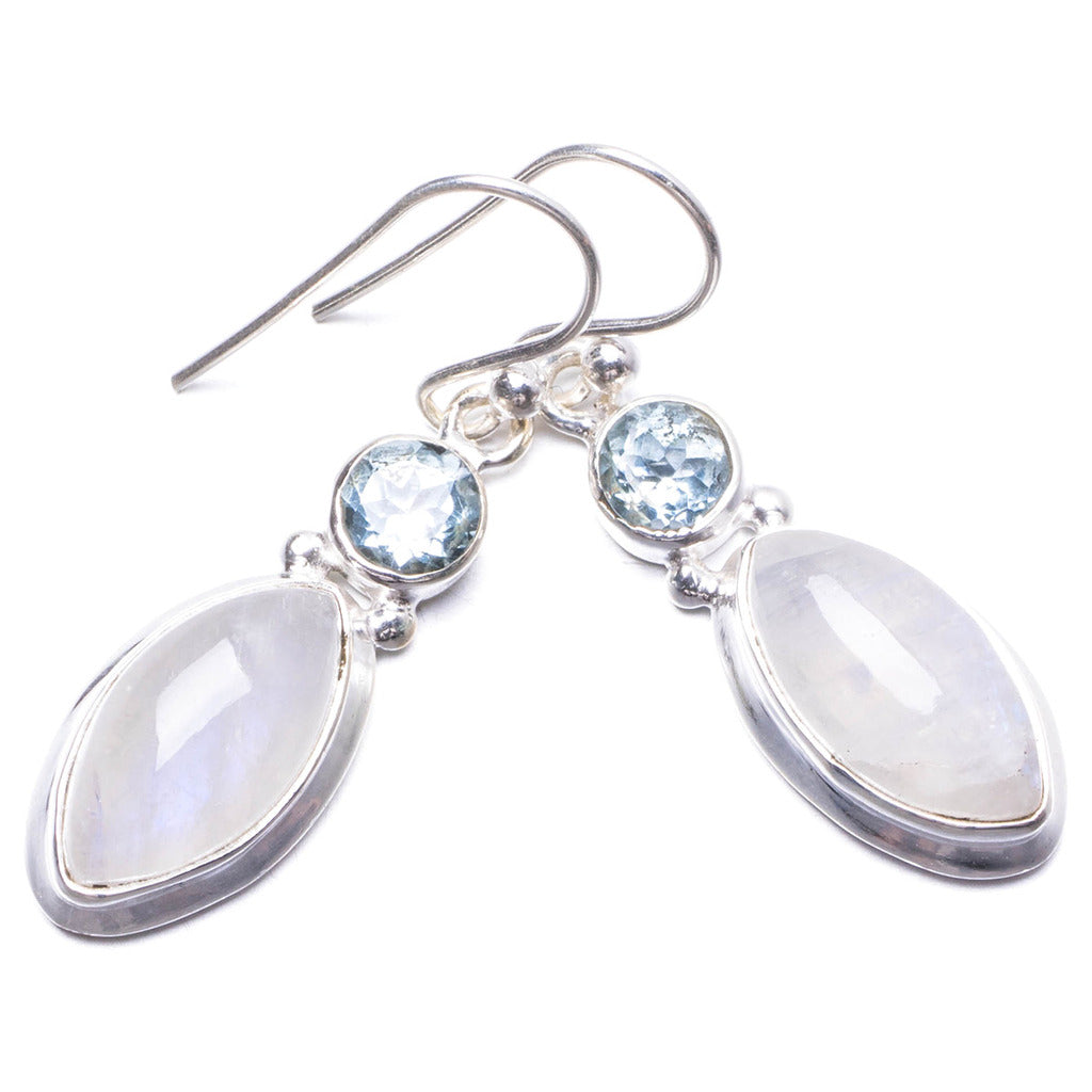 Natural Rainbow Moonstone and Blue Topaz Handmade Unique 925 Sterling Silver Earrings 1.25