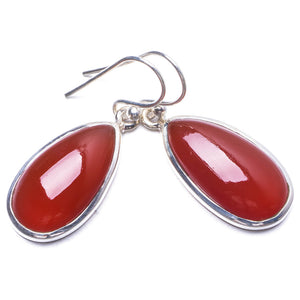 "Natural Carnelian Handmade Unique 925 Sterling Silver Earrings 1.25"" Y3191"