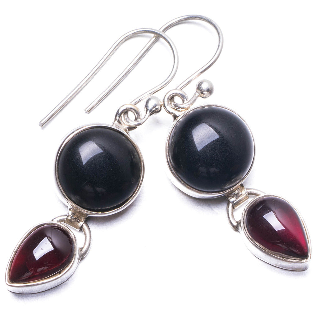 Natural Black Onyx and Amethyst Handmade Unique 925 Sterling Silver Earrings 1.5