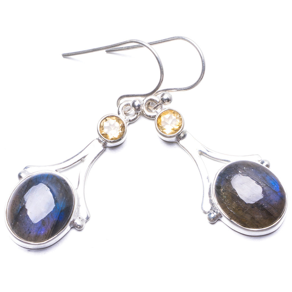 Natural Blue Fire Labradorite and Citrine Handmade Unique 925 Sterling Silver Earrings 1.5