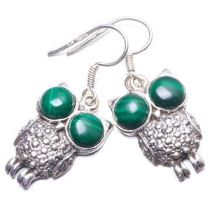 "Natural Malachite Handmade Unique 925 Sterling Silver Earrings 1.5"" Y3211"