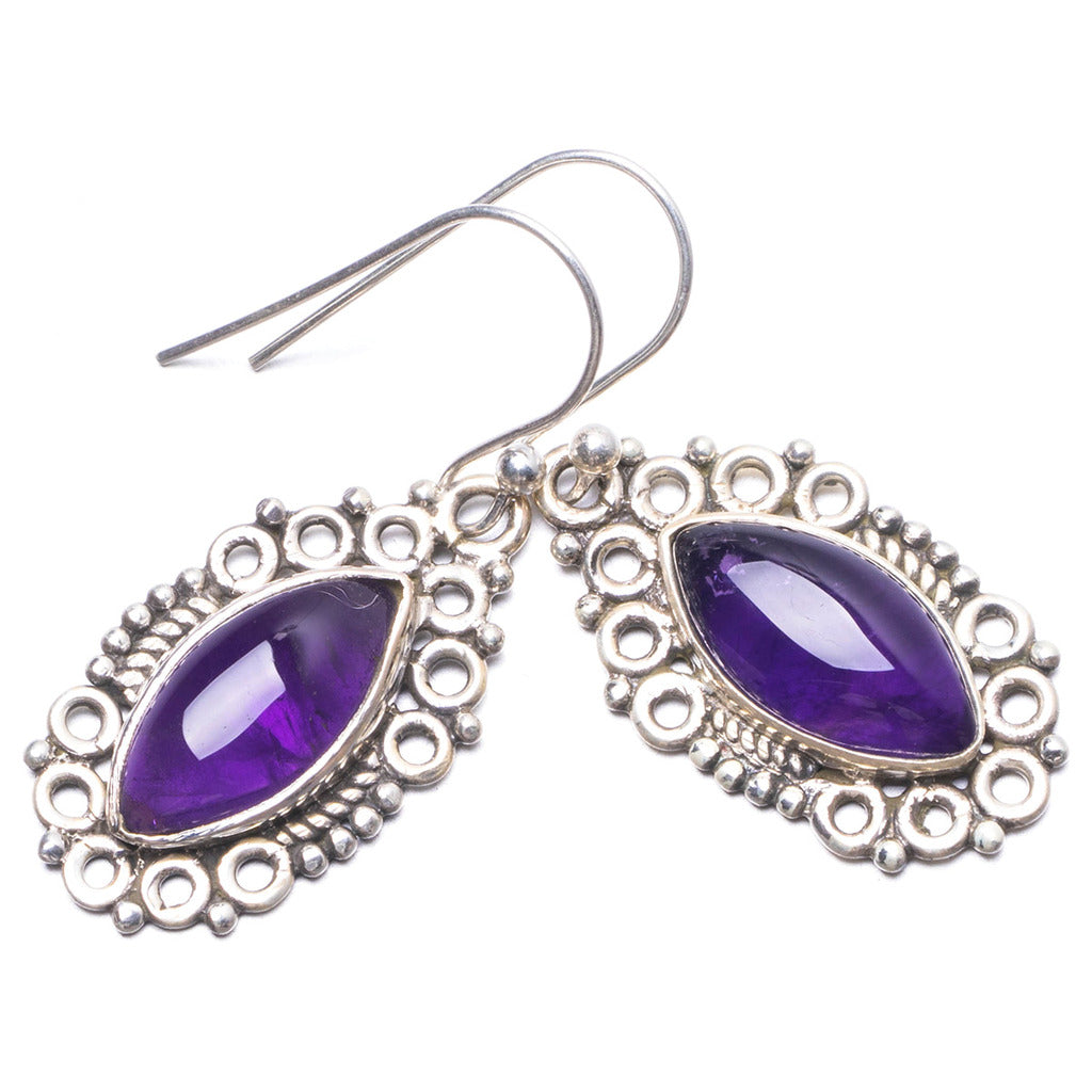 Natural Amethyst Handmade Unique 925 Sterling Silver Earrings 1.25