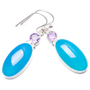 "Natural Chalcedony and Amethyst Handmade Unique 925 Sterling Silver Earrings 1.5"" Y3282"