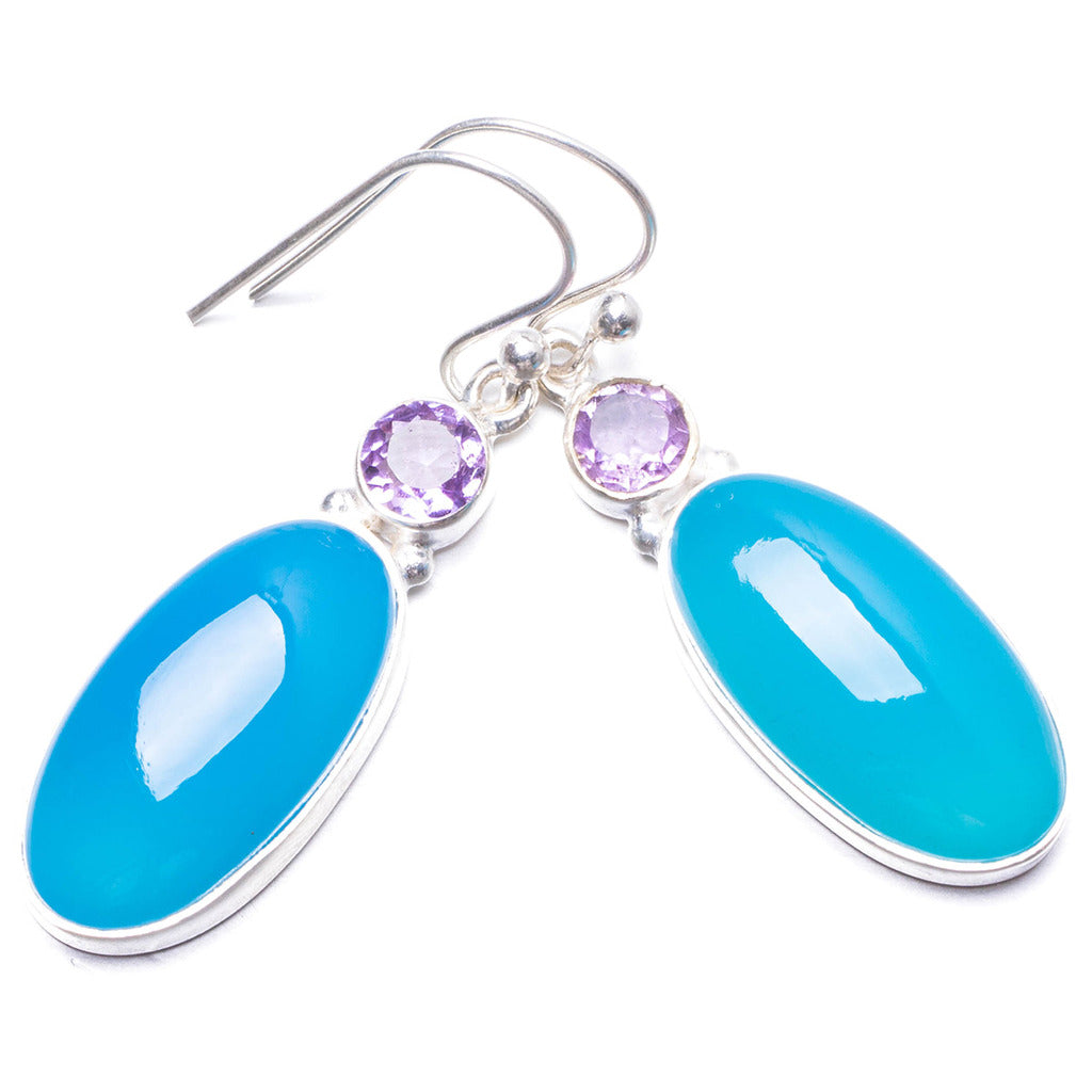 Natural Chalcedony and Amethyst Handmade Unique 925 Sterling Silver Earrings 1.5