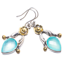 "Natural Two Tones Chalcedony Handmade Unique 925 Sterling Silver Earrings 1.75"" Y3283"