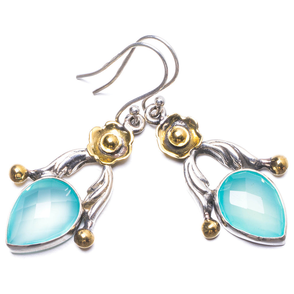 Natural Two Tones Chalcedony Handmade Unique 925 Sterling Silver Earrings 1.75
