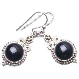 "Natural Black Onyx Handmade Unique 925 Sterling Silver Earrings 1.25"" Y3287"