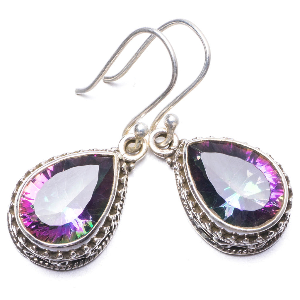 Natural Mystical Topaz Handmade Unique 925 Sterling Silver Earrings 1.25