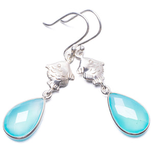 "Natural Chalcedony Handmade Unique 925 Sterling Silver Earrings 2"" Y3307"