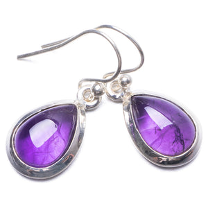 "Natural Amethyst Handmade Unique 925 Sterling Silver Earrings 1"" Y3312"