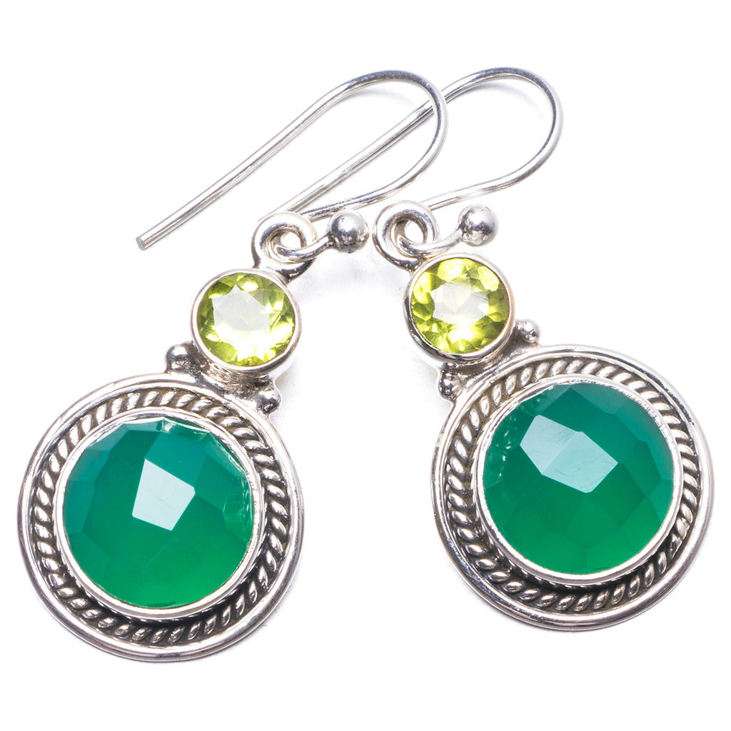 Natural Chrysoprase and Peridot Handmade Unique 925 Sterling Silver Earrings 1.25
