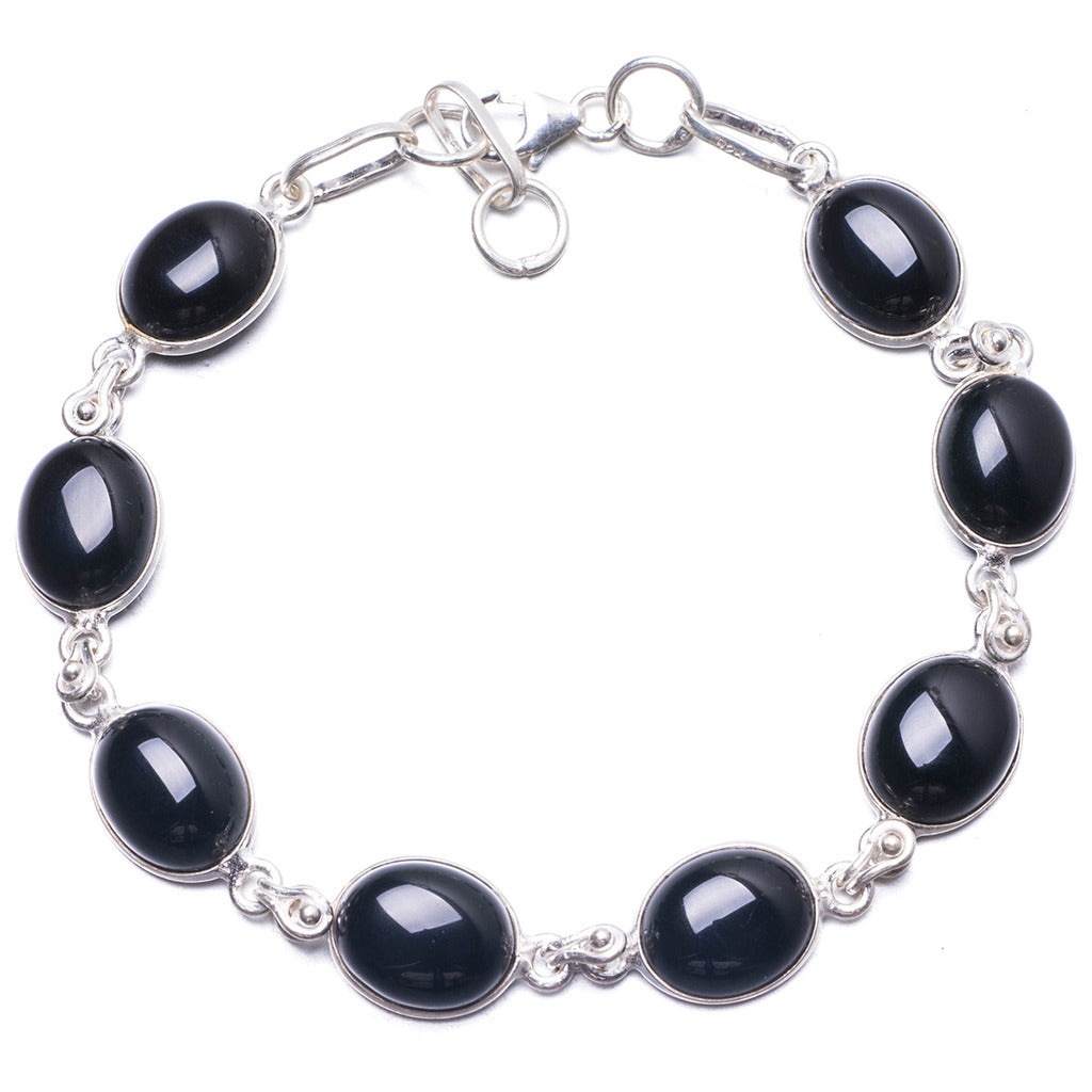 Natural Black Onyx Handmade Unique 925 Sterling Silver Bracelet 7 1/4-7 3/4